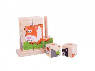 Függőleges, fűzhető képalkotó, Háziállatok (Bigjigs, fa bébijáték, 1-3 év)