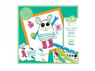 Funny animals, Djeco rajztanító kreatív készlet - 9291 (2-5 év)