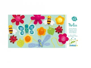 Fűzős játék, Bogarak, virágok (Djeco, 6165, 18 db-os kreatív fűzős fajáték, 2-5 év)