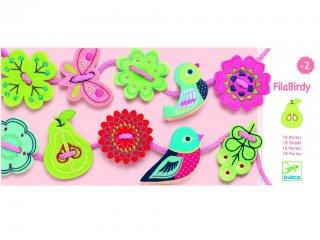 Fűzős játék, Madarak, pillangók (Djeco, 6170, 18 db-os kreatív fűzős fajáték, 2-5 év)