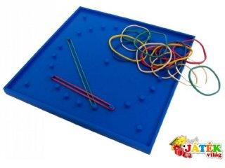 Geotábla, színes, 15x15 cm (Miniland, 95061, 6 db-os kreatív képalkotó, logikai játék, 6-10 év)