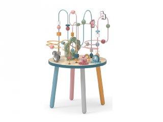 Golyóvezető asztal állatokkal és formákkal, fa készségfejlesztő játék (FK, 1,5-4 év)