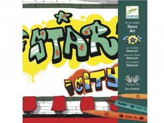 Graffiti rajzsablon filctollal, Street art (Djeco, 8615, kreatív készlet, 7-13 év)
