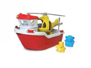 Green Toys mentőhajó helikopterrel, nagyméretű fürdőjáték