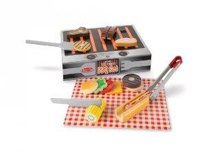 Grill és barbecue tálaló szett, Melissa&Doug 20 db-os fa szerepjáték (9280, 3-7 év)