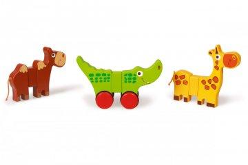 Guruló mágneses állatok, fa bébijáték (SC, 1-3 év)
