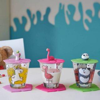 Gyerek pohár készlet 9 részes, Flamingó, Panda, Unikornis - Leonardo