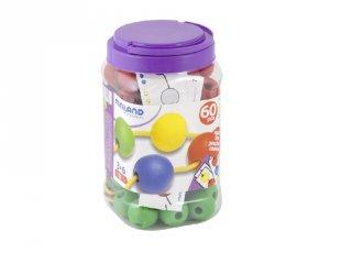 Gyöngyfűző, feladatlapokkal (Miniland, 31742, 35 mm-es, 60 db-os logikai játék, 3-6 év)