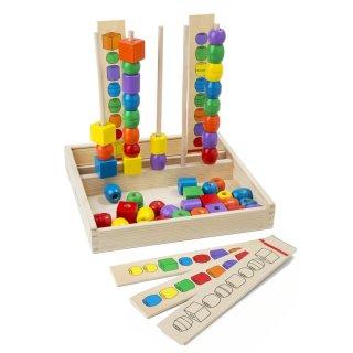Gyöngysor építő fa készségfejlesztő logikai játék (MD, 570, 3-6 év)