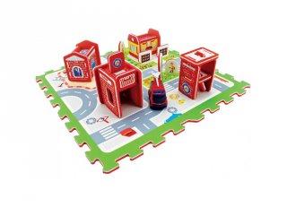 Habszivacs játszószőnyeg tűzoltó autóval és állomással, szerepjáték (3-6 év)