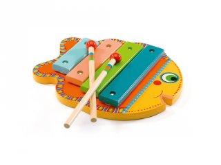 Hal formájú xilofon (Djeco, 6001, fa játékhangszer, 1,5-3 év)