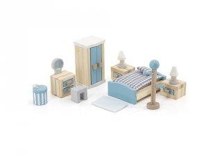Hálószoba bababútor szett, fa szerepjáték (FK, 3-7 év)