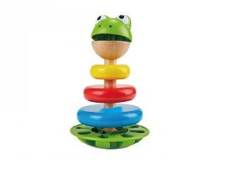 Hangot adó béka montessori torony, fa bébijáték (HAPE, 1-3 év)