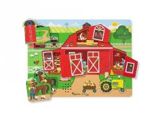 Hangot adó, fogantyús formaberakó, Farm (Melissa&Doug, 9 db-os puzzle, 0-2 év)