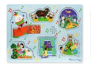 Hangot adó, fogantyús formaberakó, Mondókák, kék (Melissa&Doug, 6 db-os puzzle, 1-3 év)