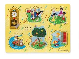 Hangot adó, fogantyús formaberakó, Mondókák, sárga (Melissa&Doug, 6 db-os puzzle, 1-3 év)