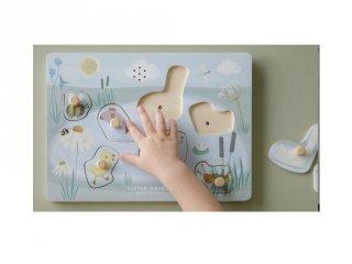 Hangot adó, fogantyús formaberakó puzzle Állatok, Little Dutch fa készségfejlesztő játék (4755, 1-4 év)