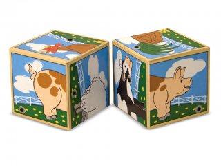 Hangot adó kocka kirakó, Állatos (1196, Melissa&Doug, 2 db-os puzzle, fa bébijáték, 0-3 év)
