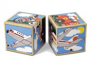 Hangot adó kocka kirakó, Járműves (Melissa&doug 1272, 6 féle, 2 db-os puzzle fa bébijáték, 1-3 év)