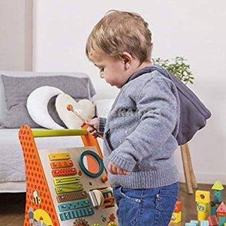 Hangszeres járássegítő, mozgásfejlesztő fa bébijáték (1-3 év)