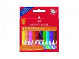 Háromszögletű zsírkréta készlet (Faber-Castell, 12 db kiradírozható, nagyméretű szett, 2-12 év)