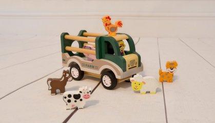 Hátrahúzható farm autó állatokkal, fa szerepjáték (3-7 év)