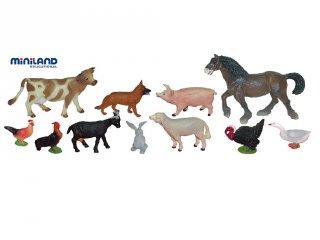 Háziállatok (Miniland, 27420, 11 db-os állatkészlet, 3-9 év)