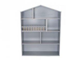 Házikó alakú nagy fali polc ezüstszürke, gyerekszoba kiegészítő (Jabadabado)