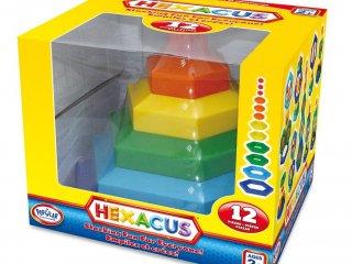 Hexacus, Hatszögtorony, feladatfüzettel (Popular, 12 db-os kreatív, logikai építőjáték, 18 hó-5 év)