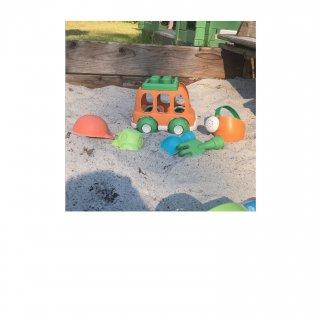Homokozó szett autóval, 6 db-os Öko kerti játék, strandjáték (3-8 év)
