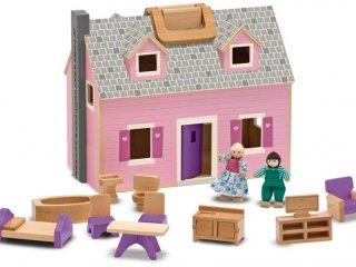 Hordozható fa babaház bútorokkal, figurákkal (Melissa&Doug, szerepjáték, 3-8 év)