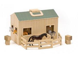 Hordozható fa istálló, lovakkal (Melissa&Doug, szerepjáték kiegészítő, 3-8 év)