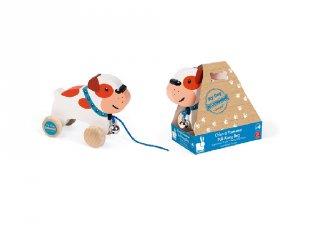 Húzható Bulldog kutyus, Janod fa mozgásfejlesztő játék (8216, 1-3 év)