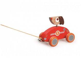 Húzható Cézár kutyus, mozgásfejlesztő bébijáték fából (Scratch, 1-3 év)
