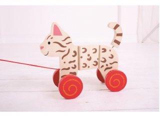 Húzható cica (Bigjigs, fa ügyességi bébijáték, 1-3 év)