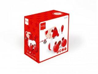 Húzható Jack kutya, mozgásfejlesztő fa bébijáték (SC, 1-3 év)