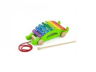 Húzható krokodil metalofon, fa játékhangszer és mozgásfejlesztő játék (FK, 1-6 év)