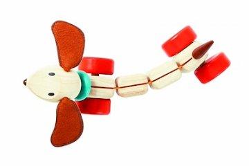 Húzható kutyus, Plan Toys mozgásfejlesztő fa bébijáték