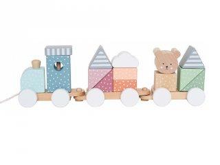 Húzható vonat macis építőkockákkal, fa készségfejlesztő játék (Jabadabado, 18 hó-4 év)