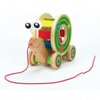 Húzós fajáték és formabedobó, Csiga (Hape, mozgásfejlesztő és formabedobó játék, 0-3 év)
