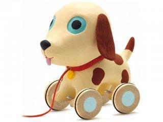 Húzós játék, Theo (Djeco, 6280, óriás kutya mozgásfejlesztő bébijáték, 1-3 év)