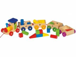 Húzós montessori favonat, 4 vagonnal (Goki, 55969, mozgásfejlesztő bébijáték, 1-3 év)