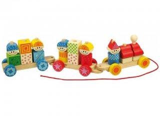 Húzós montessori favonat, Figurás (Bigjigs, 28 db-os fa bébijáték, 1-4 év)