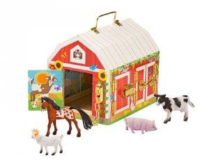 Istálló zárakkal és állatfigurákkal (2564, gyerek fa szerepjáték, 1-8 év)