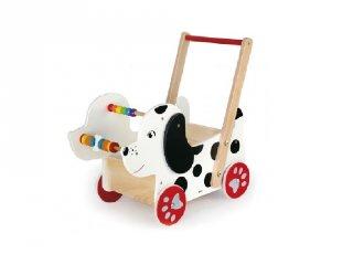 Járássegítő kocsi Kutyus, fa mozgásfejlesztő bébijáték (FK, 1-4 év)