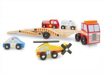 Járműszállító fából 4 db járművel (MD, 4610)