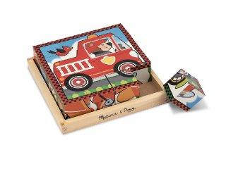 Járműves kockakirakó fából (Melissa&Doug, 772, készségfejlesztő játék, 2-5 év)