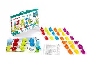 Járműves matekos játék, Miniland fejlesztő készlet, logikai játék (45340, 3-5 év)