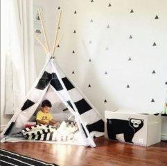 Játéktartó láda maci, gyerekszoba kiegészítő (3SPR)