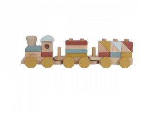Játékvonat építőelemekkel, Little Dutch fa szerepjáték (4702, 1-4 év)